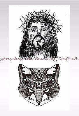 US SELLER- Jesus cat temporary tattoo female lower back tattoos