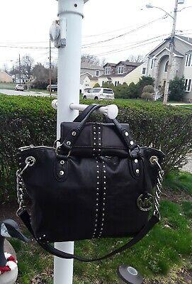 Michael Kors Uptown Astor Silver Stud Black Leather Wide Satchel Tote Bag+$648