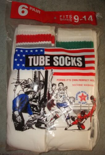 70s VTG OVER THE CALF TUBE SOCKS 6 PAIR MENS 9-14 USA STRIPED HIGH 80s NOS KNEE