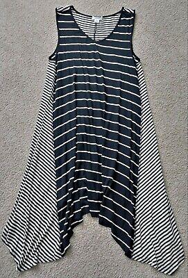 Black Uneven Hem Dress - Exist Black Ivory Striped Uneven Hem A line Flowy Flared Tank Dress S