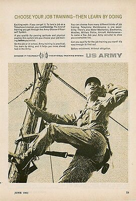 1961 US Army Recruiting Ad Vocational Training Telephone Lineman Recruit Enlist