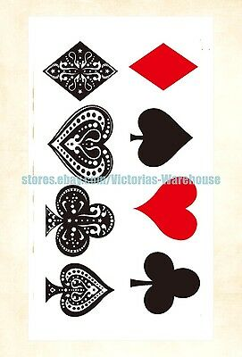 US Seller- playing cards temporary tattoo removable - Cards Tattoo
