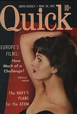 Quick News Weekly Magazine 1952 March 24 News Entertainment Photos Ursula Theiss