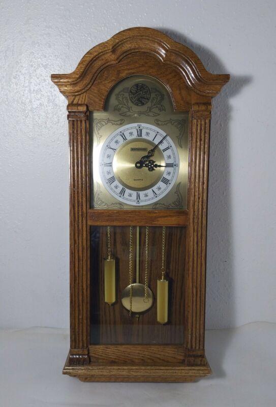 Vintage Westminster Tempus Fugit Quartz Chime Pendulum Wall Clock - Works Well