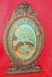 Antique American Oval Wall Clock With Asian Motif
