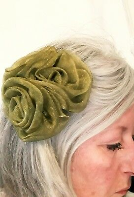 Fascinator Hat Olive Green Wedding Clip In Hairpeice Corsage SELLER IS AWAY