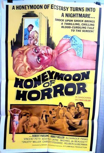 folded poster HONEYMOON OF HORROR 1964 US1sht Robert Parsons Abbey Heller HTF