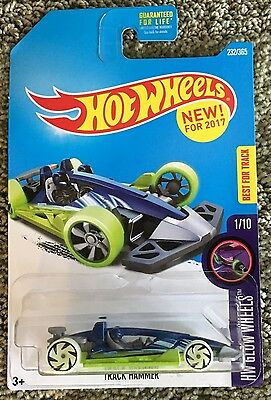 2017 Hot Wheels TRACK HAMMER ~ HW Glow Wheels ~ K Case ~ blue & green ~ New