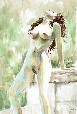 ORIGINAL Watercolor painting - Female NUDE - 8 x 5.5 inches - Fine Art