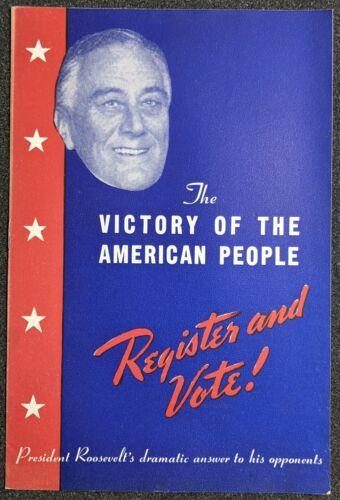 1944 Franklin Roosevelt Victory American People Register & Vote Booklet WW2
