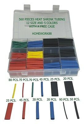 560 Pcs. 21 Heat Shrink Tubing Tube Sleeving Wrap Cable Wire 5 Colors 12 Sizes