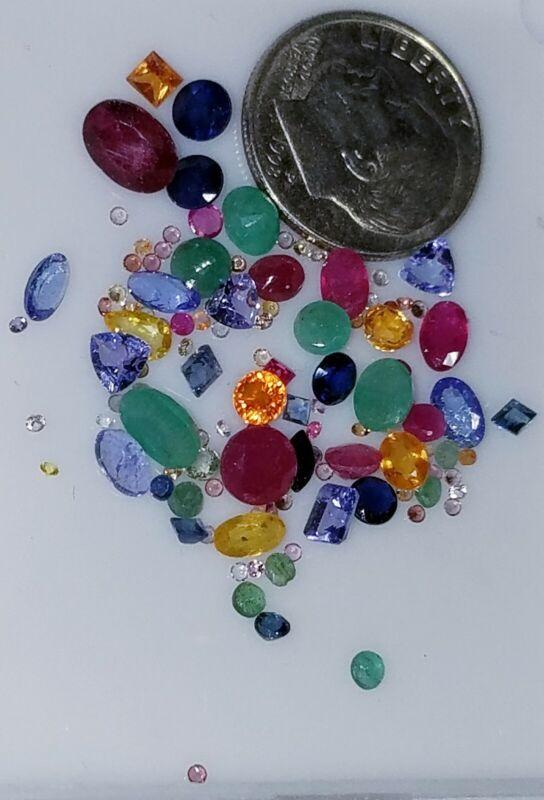 Wholesale Natural Sapphire Emerald Ruby Tanzanite loose Gemstones Mix 5+Ct Lot