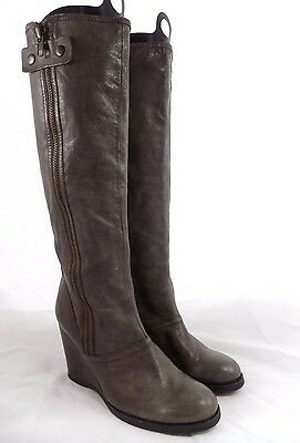 Apepazza MARTIN Taupe Grayish Light Brown Leather Wedge Boots // Women Size 8.5M