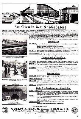 1935 Braun Biberwerk Köln Reichsbahn ca. 20x29 cm orig. Printwerbung (113)