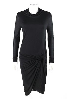 HELMUT LANG Black Jersey Knit Twist Front Draped Cowl Neck Cocktail Dress M NWT Cowl Front Jersey Dress