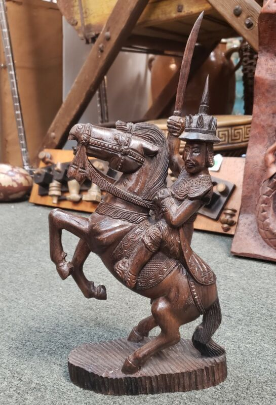 Early 20th Century Burmese Nat Warrior on Horseback Wood Carving