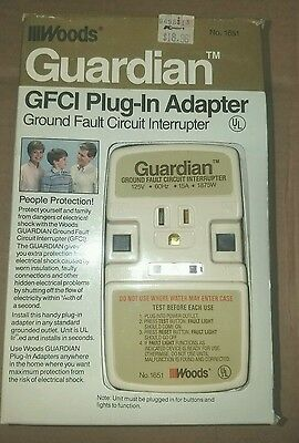 Woods Guardian Plug-In GFCI Adapter, Turn Any Outlet to a GFCI! Shock Protection