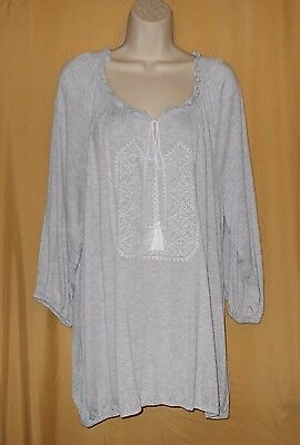 Cupio Woman women's gray peasant stretch ls tunic top embroidered plus 2X $74 - Peasant Tops For Women