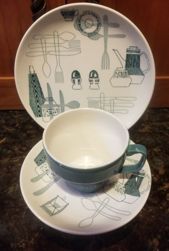 FIESTA BY BARKER BROS. ROYAL TUDOR WARE STAFFORDSHIRE 60s MCM Cup Saucer Plate
