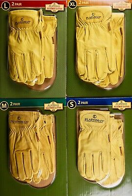 (Plainsman Premium Cabretta Leather Gloves All-Purpose, S M L or XL, 2 Pairs)