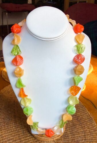 Vintage Colorful W Germany Lucite Necklace & Earrings Set, Leaves & Flowers