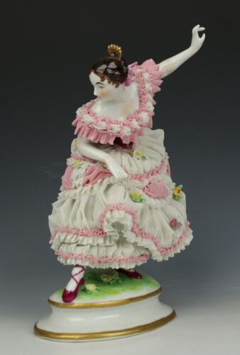 "Antique German Muller Volkstedt figurine ""Dancing Lady"" WorldWide"