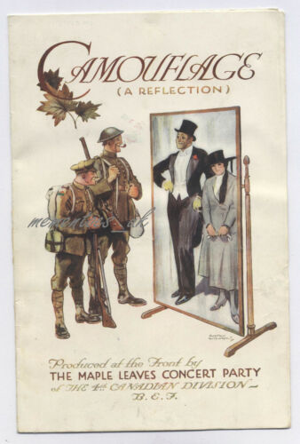 WW1 4th Canadian Div Concert Party Prog Maple leaves Front BEF Military Theatre