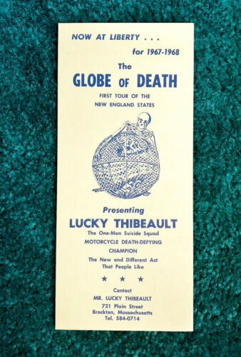 RARE SIGNED 1967 LUCKY THIBEAULT GLOBE OF DEATH BROCHURE INDIAN MOTORCYCLE WALL