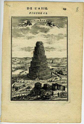 1683 Genuine Antique map of the Tower of Babel, Tour de Babel. A.M. Mallet