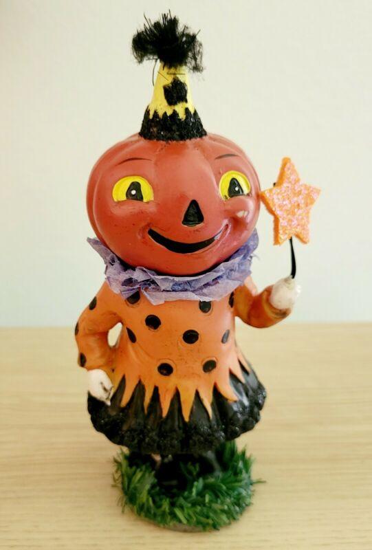 Halloween Fall Figurine Girl Witch Dress Star Hat Resin Rare