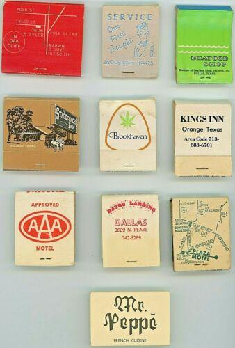 Vintage Matchbook Lot, Texas, Restaurants, Motels,  50