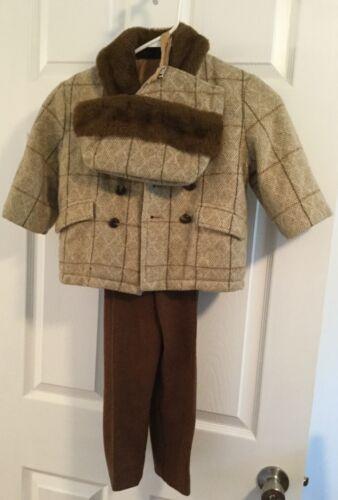 Vintage Wool Tweed Boys Winter Outfit Coat Jacket Pants & Hat/Cap Suit Size 4T