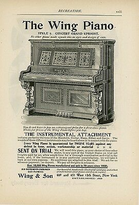 1898 Wing Piano Ad Style 7 Concert Grand Upright Music Musical Instrument NY