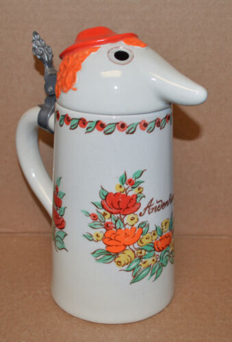 Webco Ceramarte Beer Stein Orange Hat Figural Lady Andenken