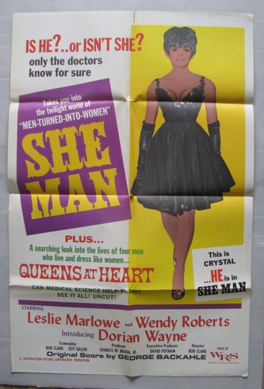 SHE MAN Film Poster Transexual Transgender Cult 1967