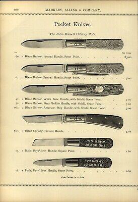 1895 PAPER AD 7 PG John Russel Pocket Knife Knives Green River