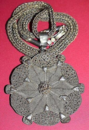 Antique Yoruba Tribe Gilded Brass Filigree Pendant Chain Necklace Nigeria Africa