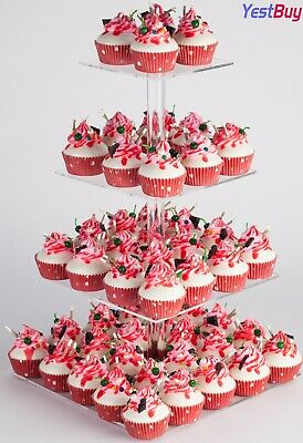 "4 Tier Maypole Square  Wedding Party Acrylic Cupcake Display Stand (18.7"")"