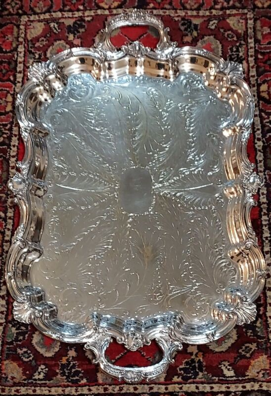 X LARGE Silverplate Serving Tray  Goldfeder Silver Co Chased Silver Plate 29x18