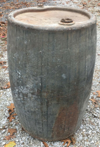 Standard Oil Gas Steel Galvanized 56 Gallon Drum vintage barrel can