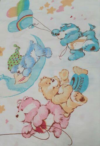 Vtg 80s CARE BEARS Friends Clouds Rainbows Stars Hearts Fabric Pillowcase