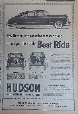 1950 newspaper ad for Hudson -  Exclusive recessed floor, World's Best Ride