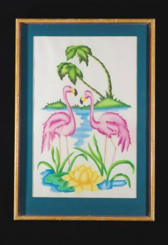 VINTAGE (40s-50s) FLAMINGO ART DECO PRINT MATTED HAND-MADE FRAME INTENSE COLORS!