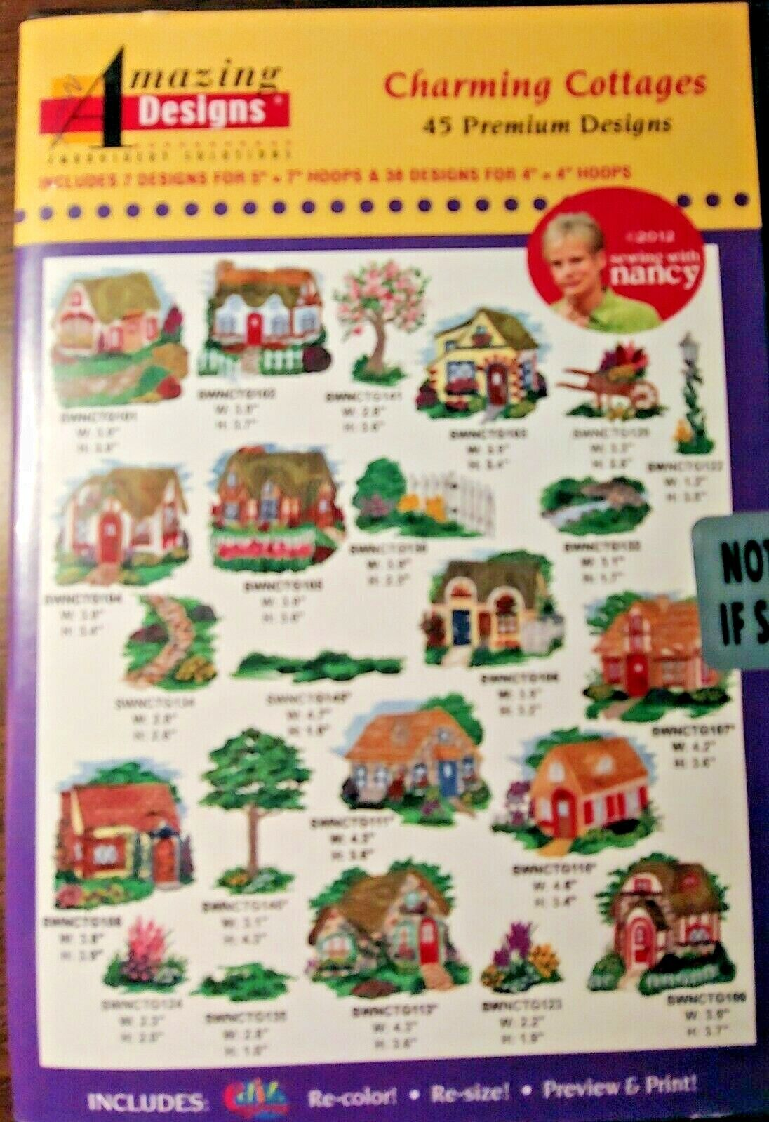 New Sealed Amazing Designs Charming Cottages Embroidery Designs DVD