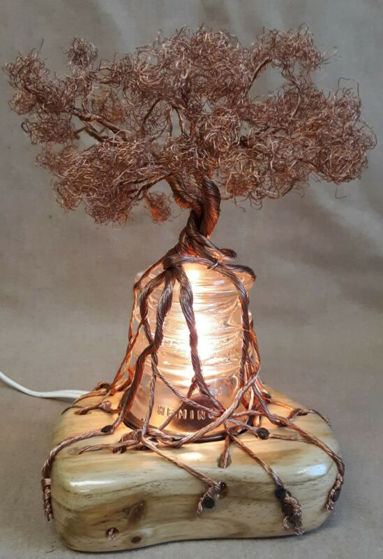 Sculpture Copper Wire Bonsai Tree Sculpture On Lighted Base Antique Glass Insulator Wood The Zedign House Store