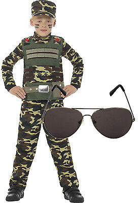 Army Military Boy Kids Soldier Action Man Fancy Dress Costume Outfit + Shades (Childs Army Outfit)