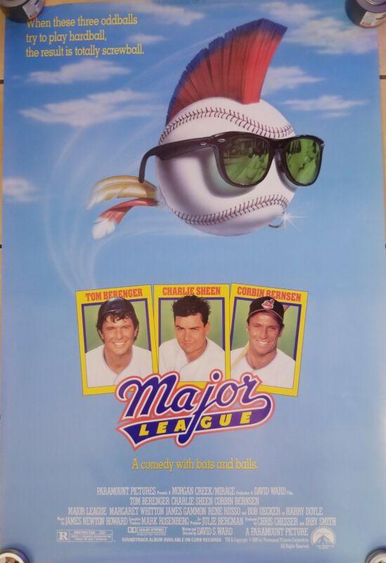 Vintage 1989 MAJOR LEAGUE One Sheet Poster Charlie Sheen Berenger Russo Baseball