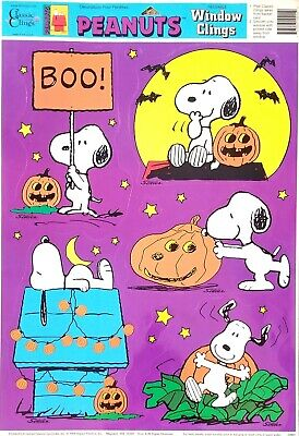 VTG Peanuts Snoopy Pumpkin Patch LARGE Halloween Window Clings Decoration  NEW - Snoopy Halloween Decorations