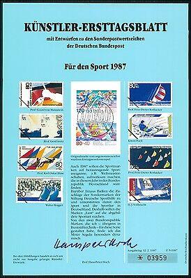 BRD KÜNSTLER-ETB 1987/5 SPORT SEGELN KÜNSTLER-ERSTTAGSBLATT LTD. EDITION