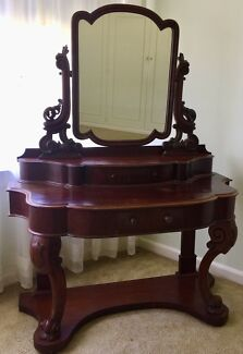 Antique Mahogany Vanity Table + Reproduction Items Of Furniture.